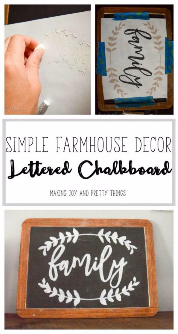 DIY Lettered Chalkboard Sign