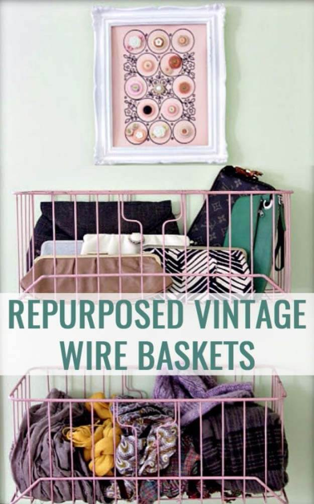 Repurposed Vintage Wire Baskets