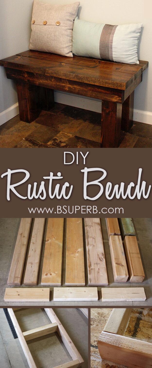 DIY Rustic Bedroom Bench