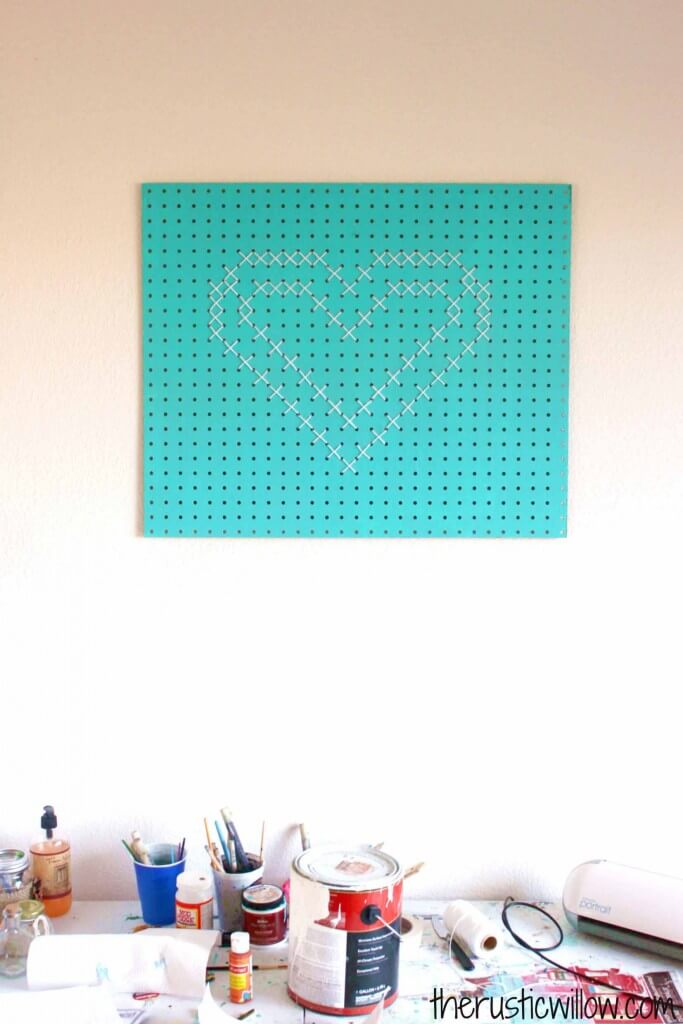 Cross Stitch Pegboard Heart