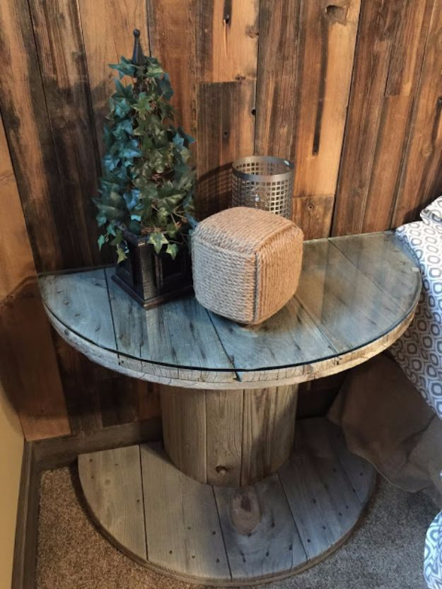 Wooden Electrical Spool Table Turned Into A Bedside Nightstand