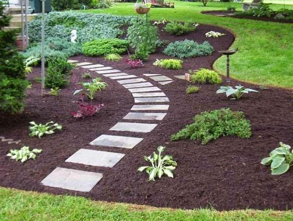 Mulch and Stone Path