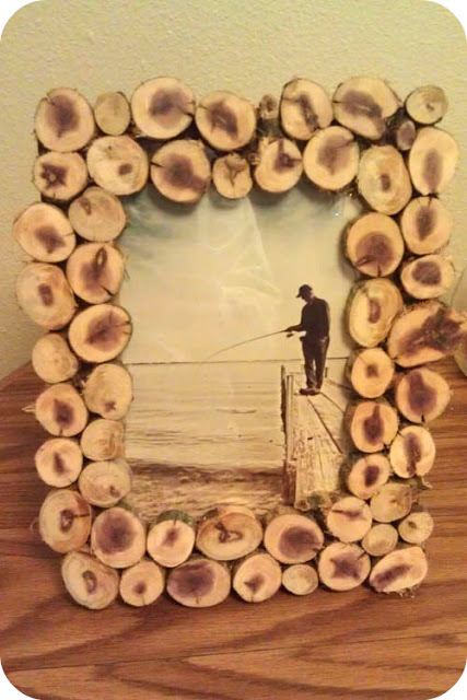 Do It Yourself Wood Slice Picture Frame