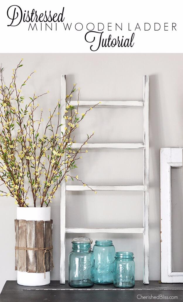 Distressed Mini Wooden Ladder