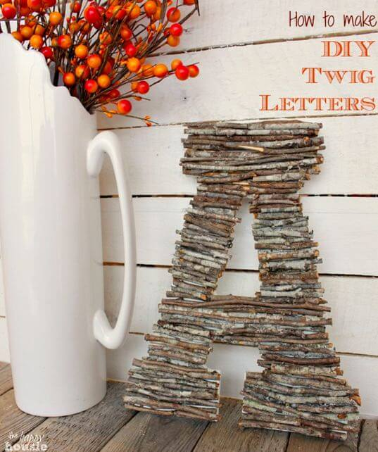 DIY Letters With Twigs