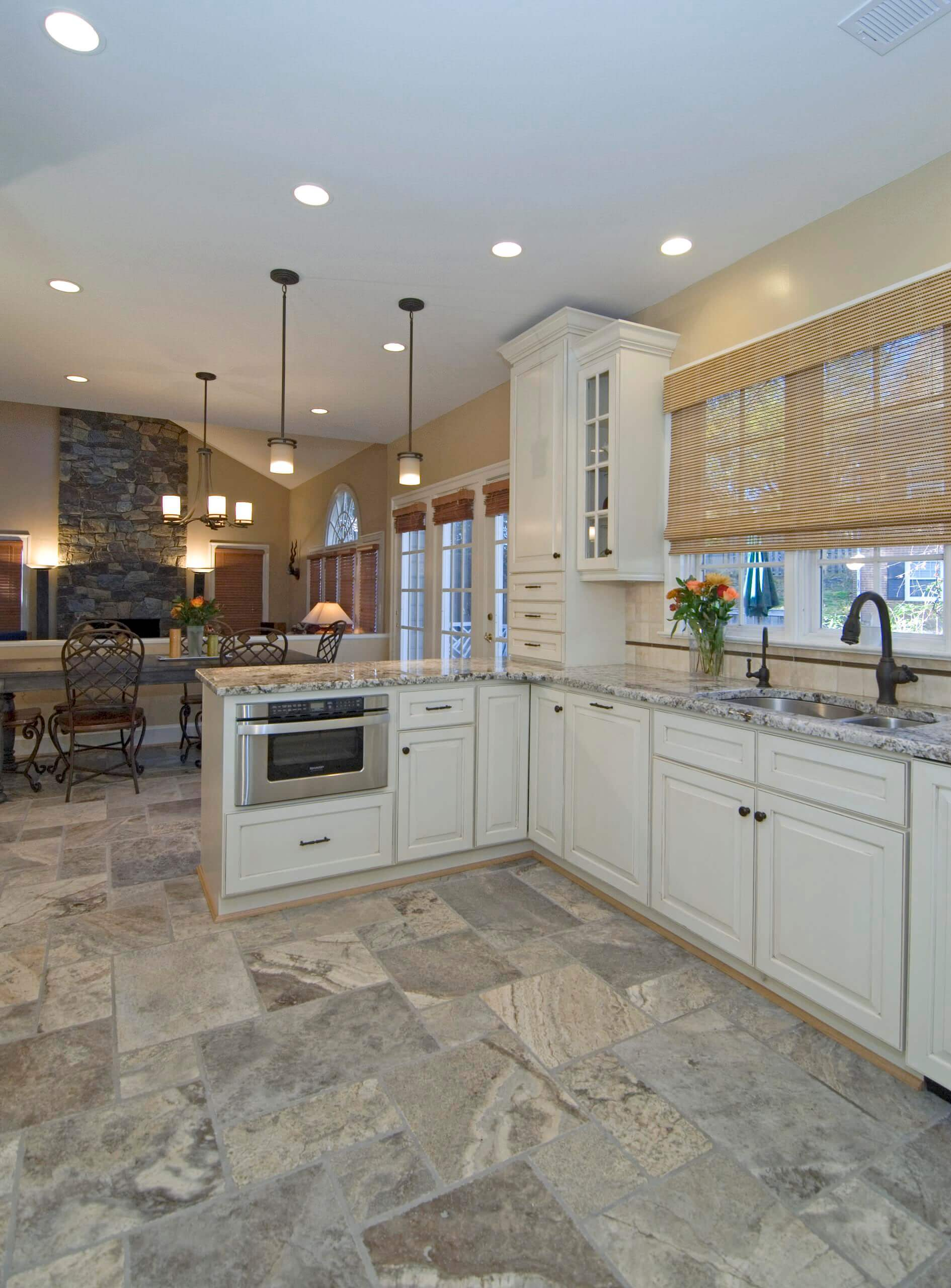 Trendy kitchen photo in DC Metro with an undermount sink, raised-panel cabinets, white cabinets and beige backsplash