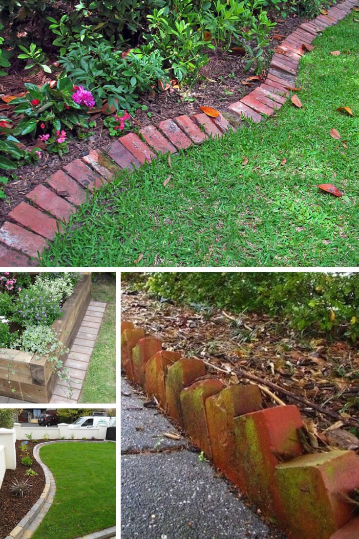 Wood and Brick Grass Edging | Garden Edging Ideas | DIYMorning.com