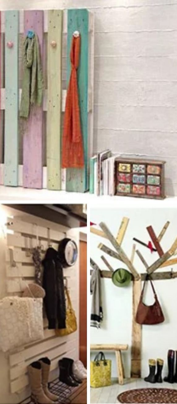Coat racks made with pallets.