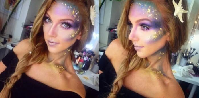 Blonde girl with mermaid makeup