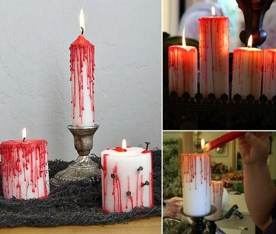 Candles decorated with blood.