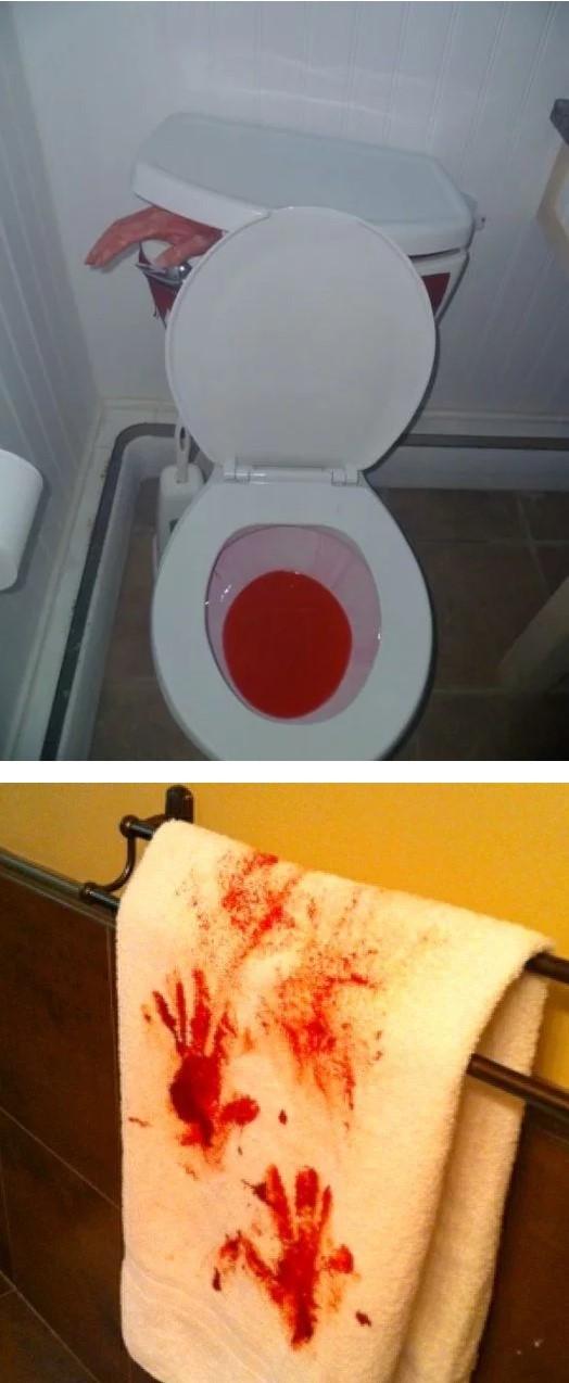 Bathroom decorated Halloween.