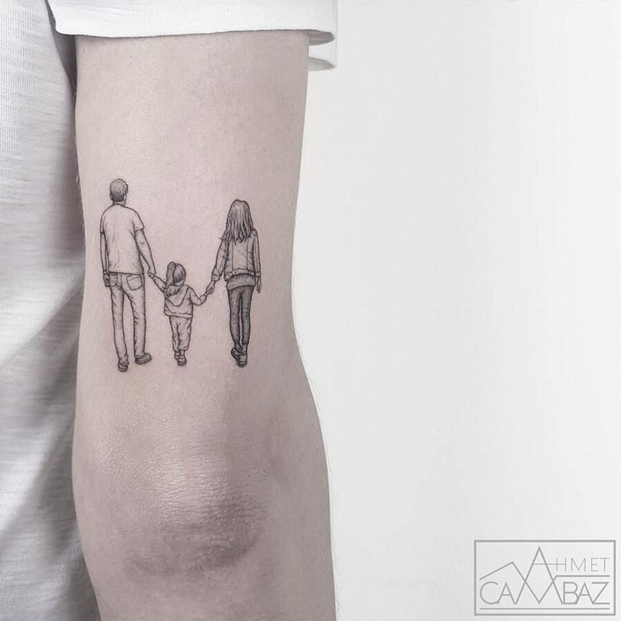 Family tattoo holding hands