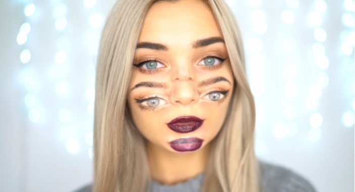 Woman with make-up with eyes and lips