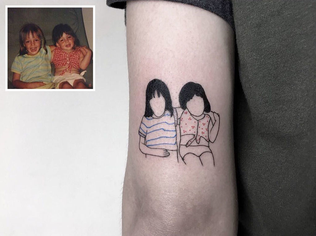 Minimalist family photo tattoo