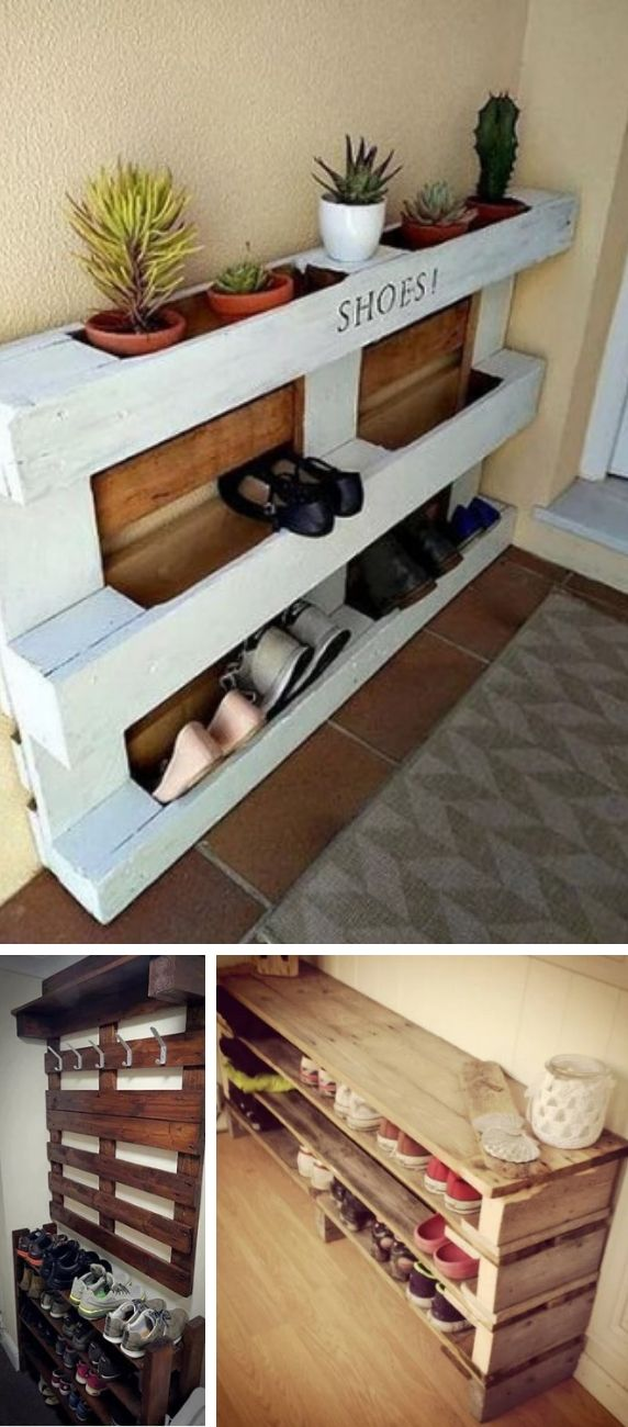 Furniture for shoes created with pallets.