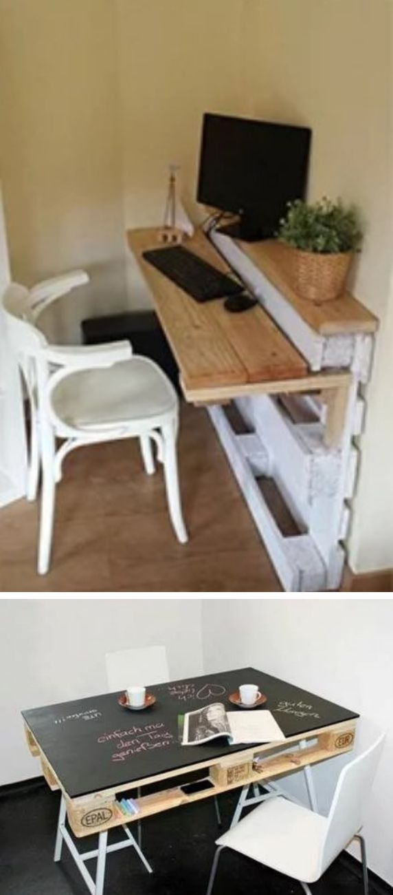 Work spaces made with pallets.