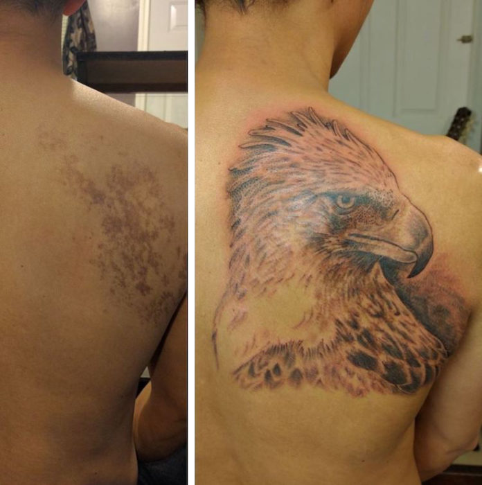 Boy with an eagle tattoo on his back
