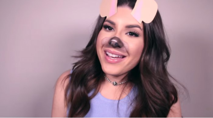Woman made up like dog filter snapchat