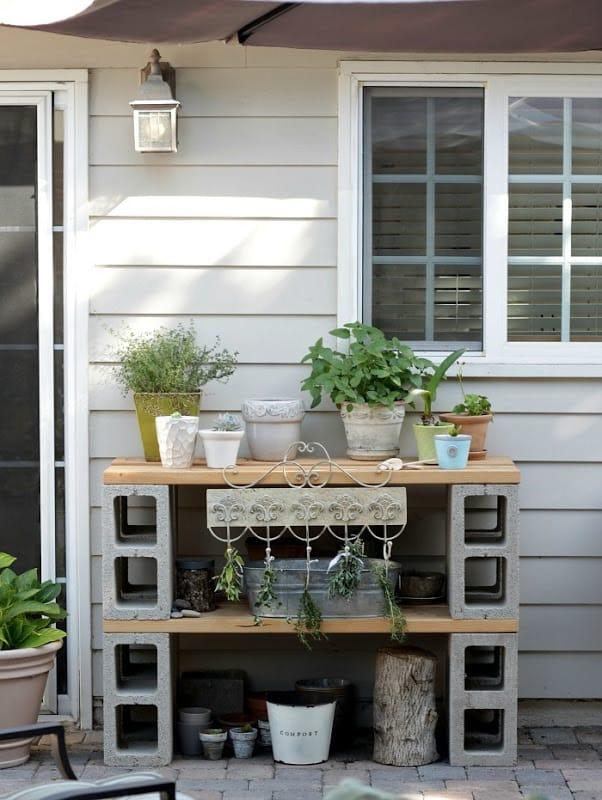 Cinder block potting table