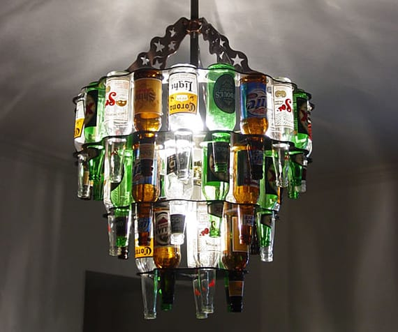 Making a creative wine Bottle Chandelier