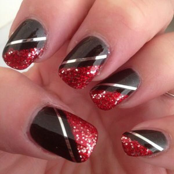 Red and Black Silver Striped Nail Design