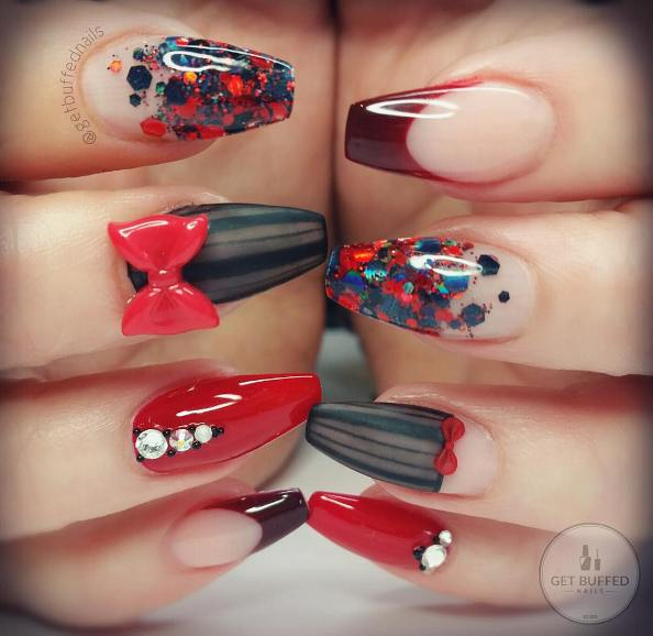 Mix Art Red and Black Nail Design