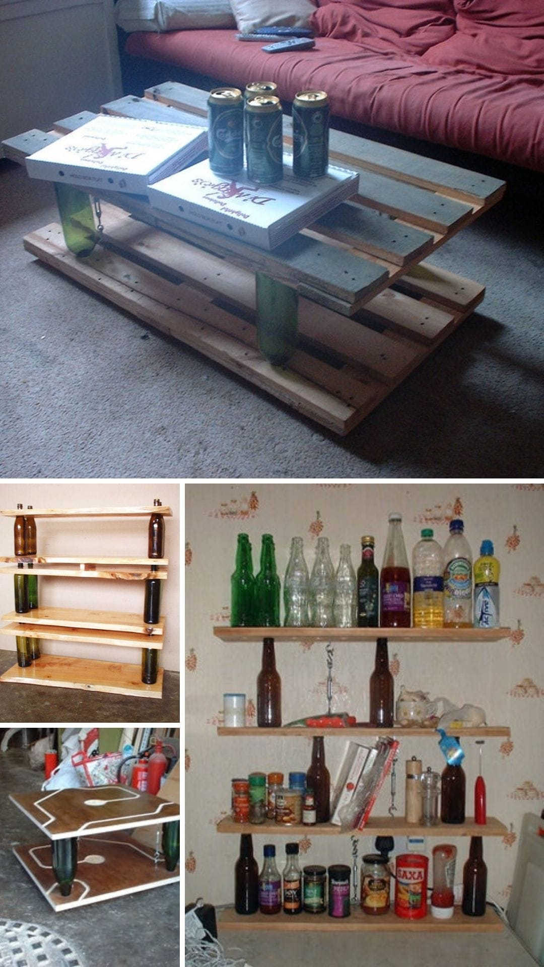 Recycled shelving and table