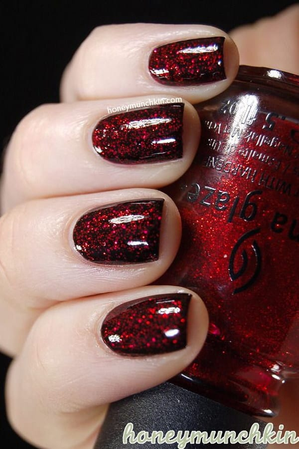 Black Nails with Red Glitter Coat Nail Design