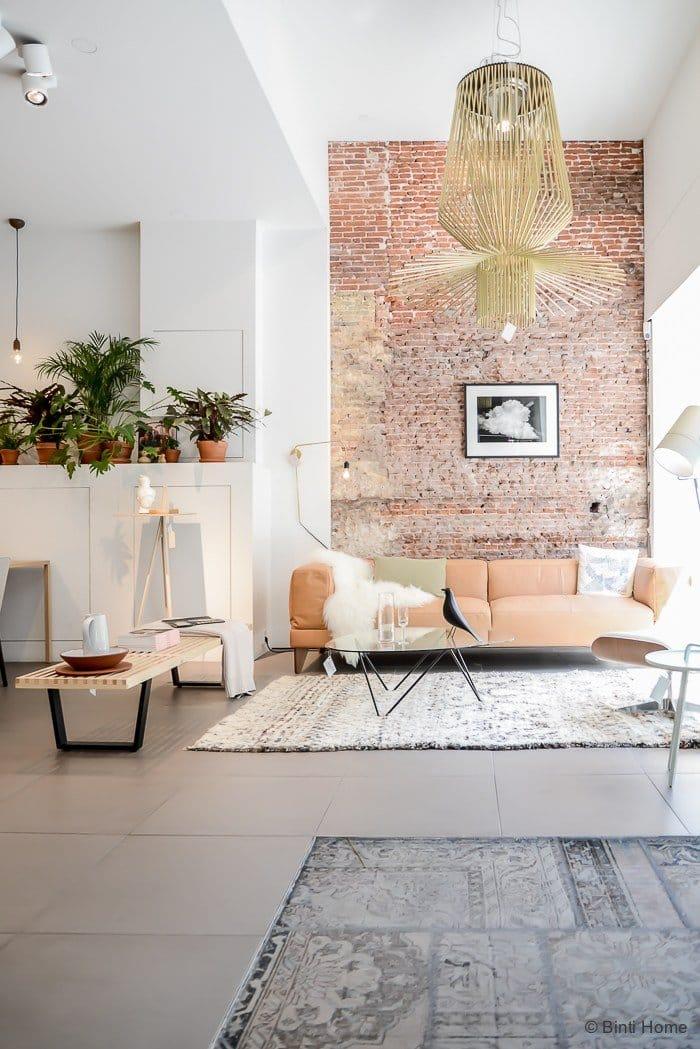 Scandinavian Living Room with Brick Wall