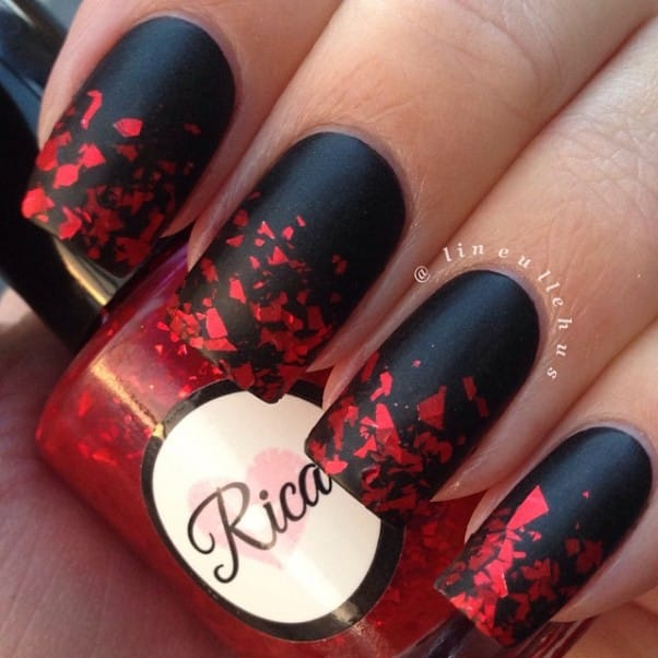 Gradient Black and Red Nail Design