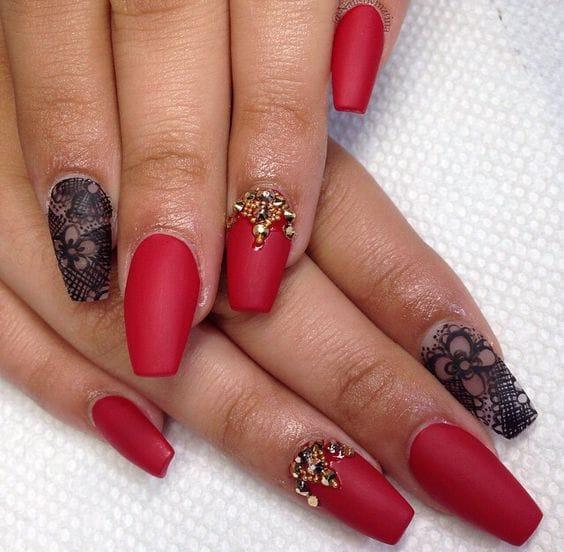 Rhinestones in Red Nail Design