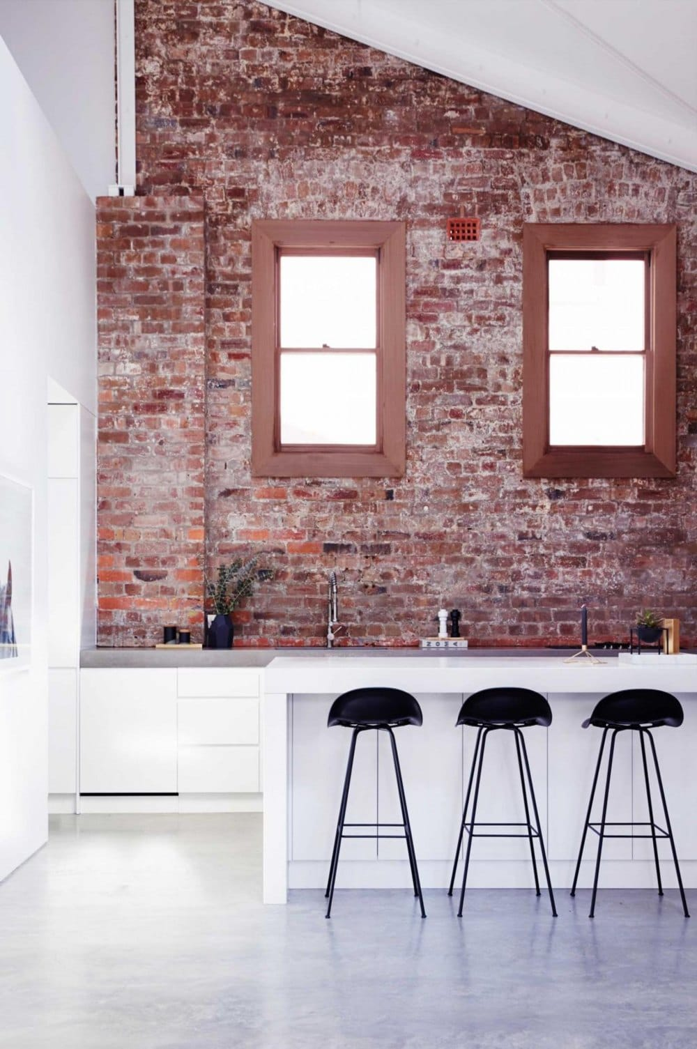 Red Brick Kitchen Accent Wall