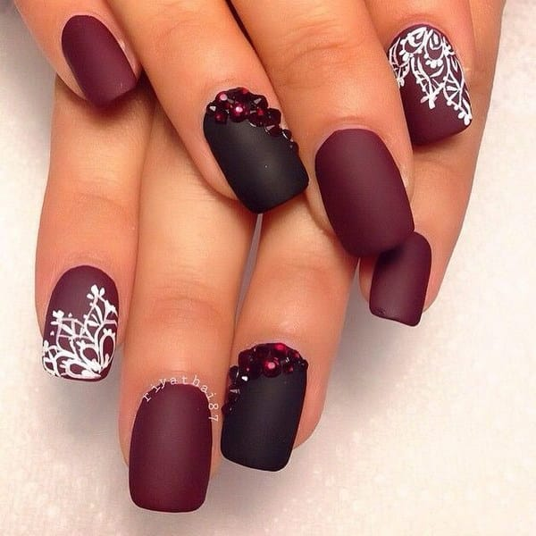 Bloody Red and Black Nail Design