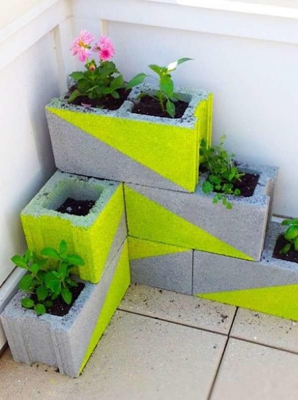 Colorful cinder block planters