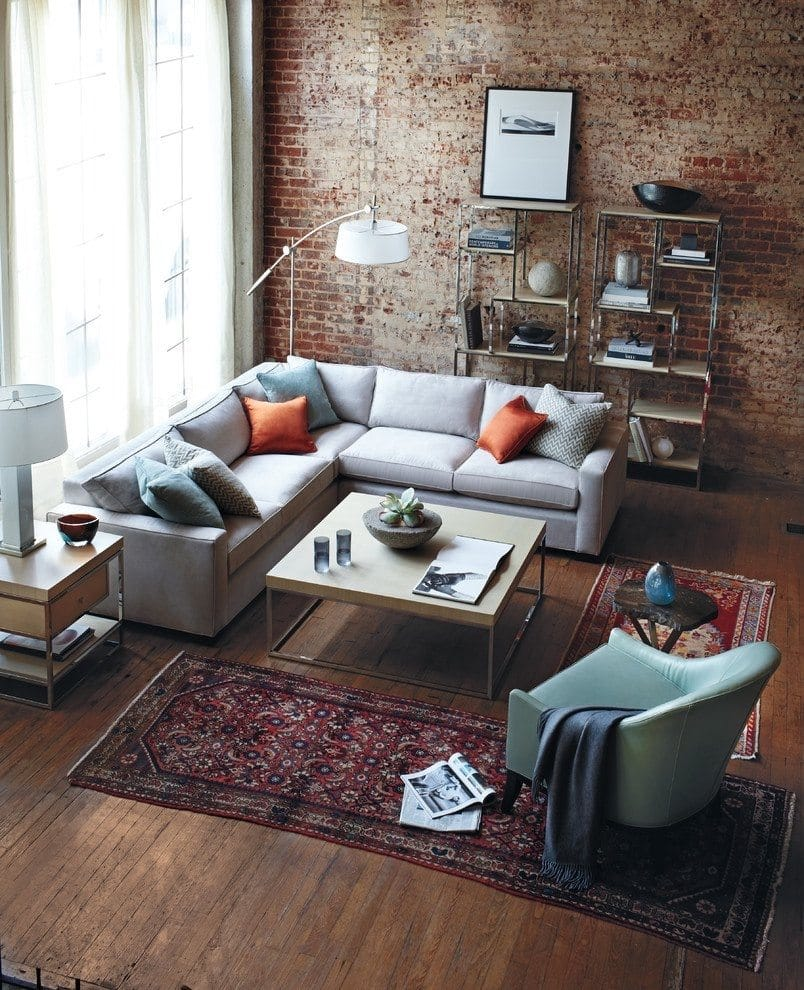 Living room with Brick Wall and Small Rug