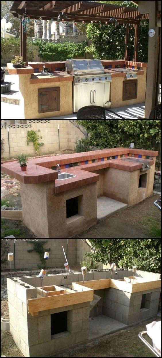 Cinder block kitchen