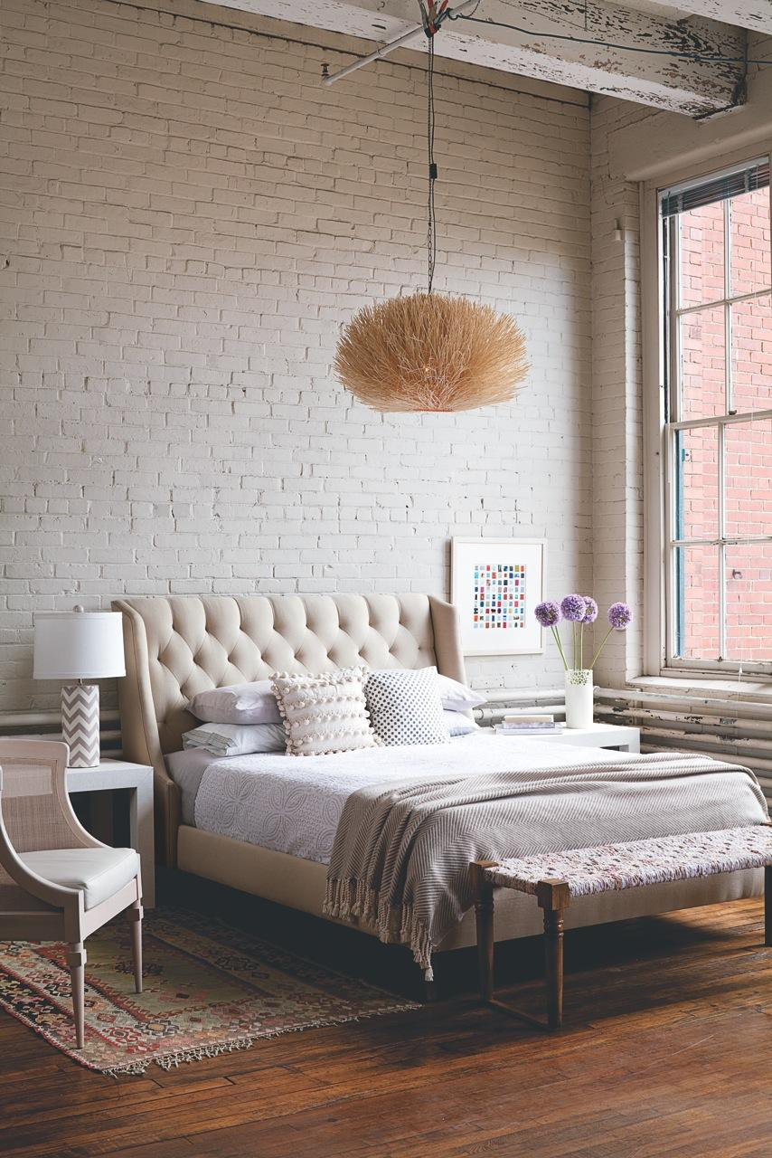 Serene Bedroom with white Brick Walls