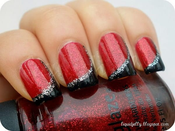 Red and Black with Silver Glitter Design