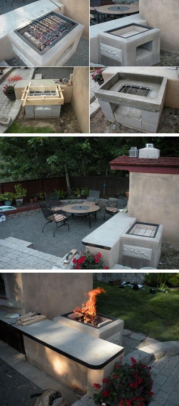 Backyard cinder block BBQ grill
