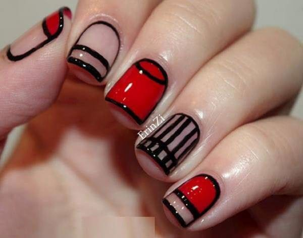 Red and Black Stripes Nail Design