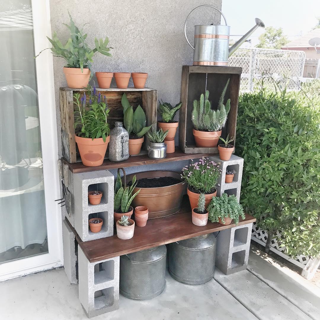 Cinder block potting station