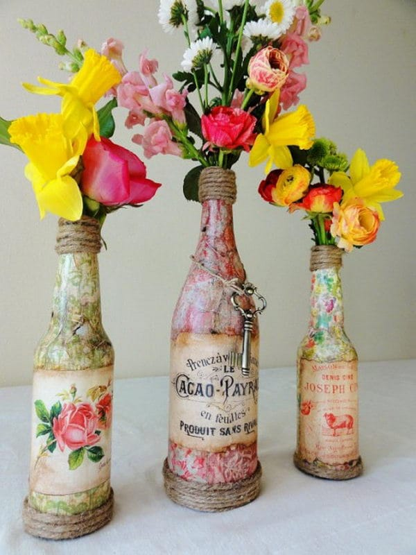 Making a wine bottle centerpieces