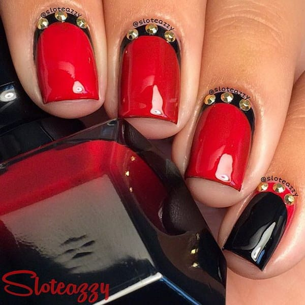 Black and Red with Gold Details Design