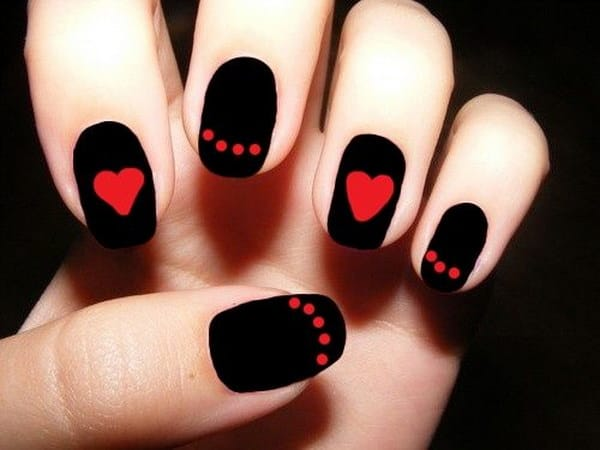 Nail Designs with Hearts and Dots