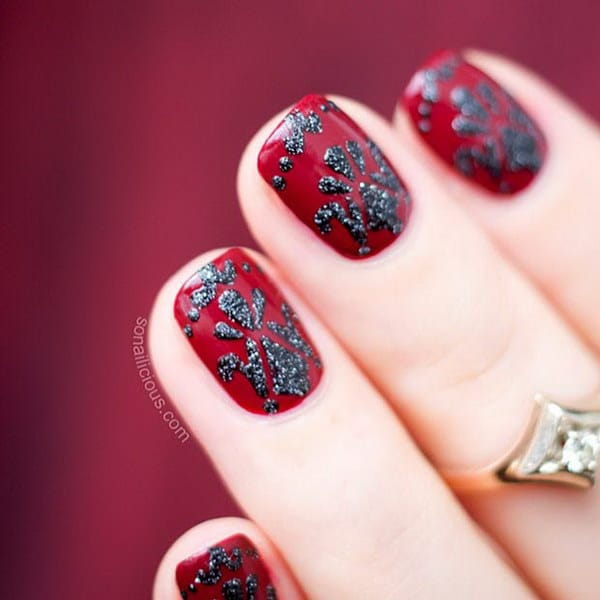 Red and Black Baroque Nail Design