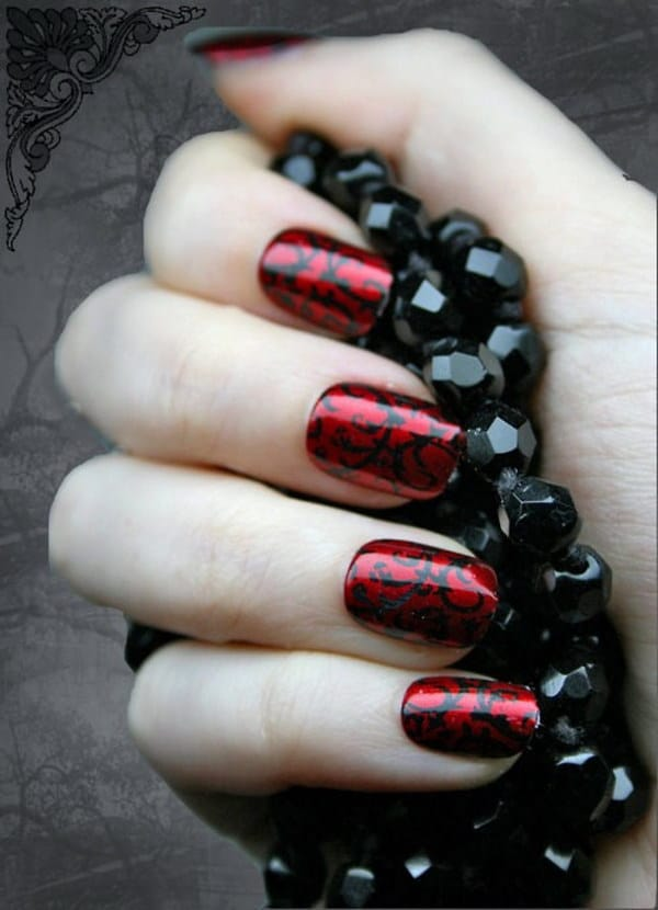 Swirl Red and Black Nail Design