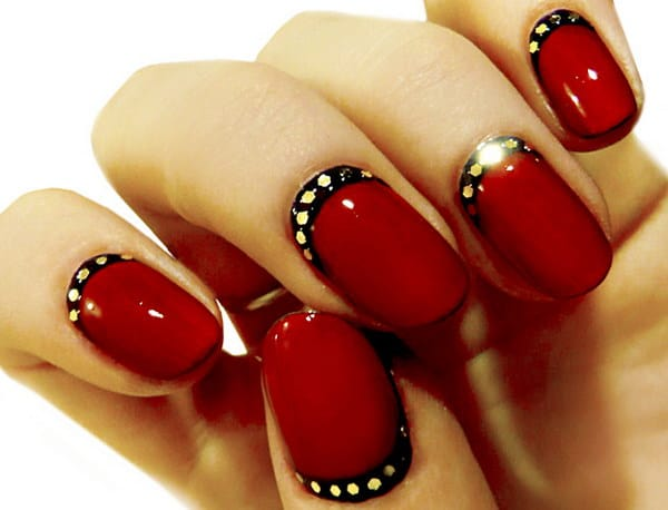 Red and Black Half Moon Nail Design
