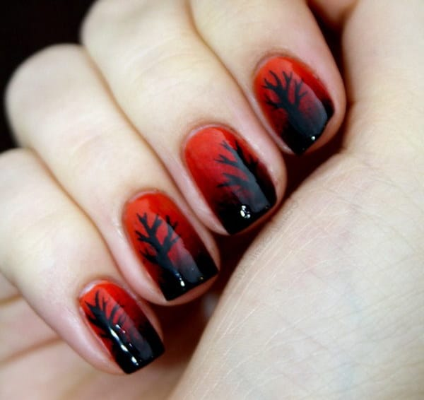 Black Trees on Red Nail Design
