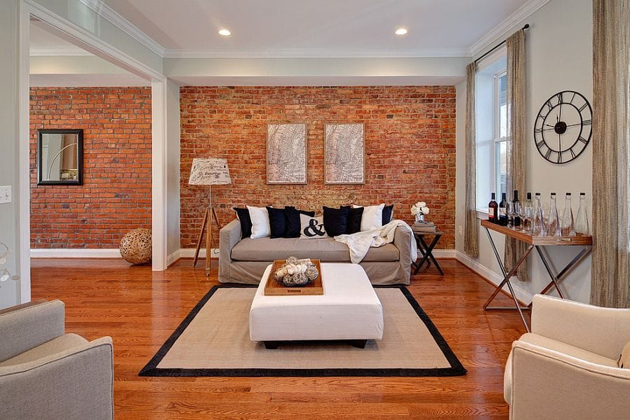 Eclectic Living room with Exposed Wall