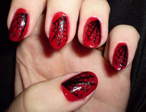 Black Spider Web on Red Nail Design